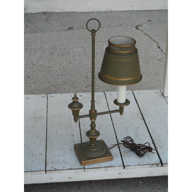 Sage green and gold metal tole candlestick desk lamp. This traditional design will add a certain distinction to any room....