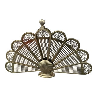 Mid-Century Solid Brass Folding Peacock Fireplace Screen For Sale