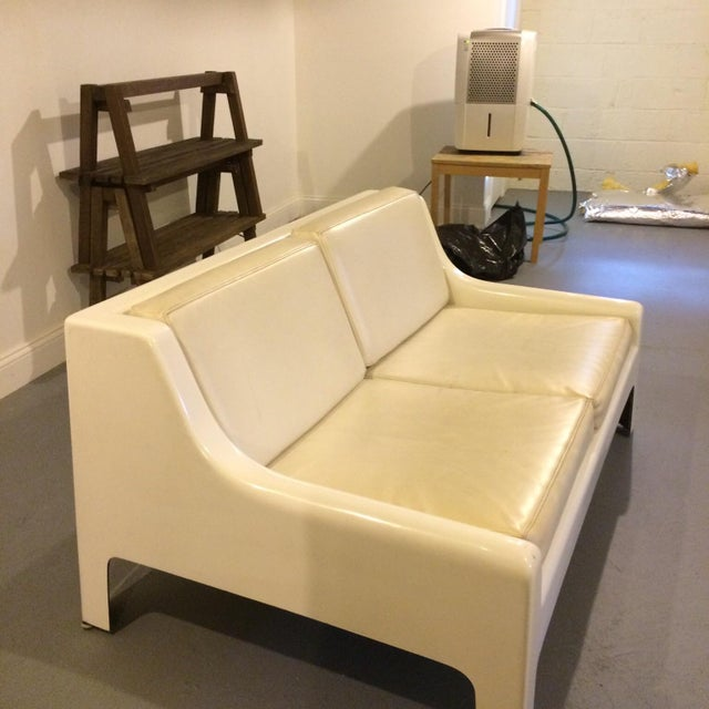 Danish Modern Fiberglass & Leather Sofa - Image 4 of 4