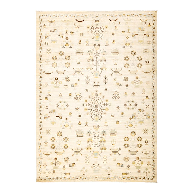 """Eclectic Hand Knotted Area Rug - 6' 1"""" X 8' 8"""" - Image 1 of 4"""
