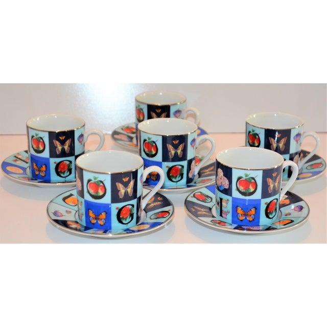 1990s Vintage Mid Century Gucci Guccissimo Porcelain Espresso Cup Saucer Set- 12 Pieces For Sale - Image 5 of 13