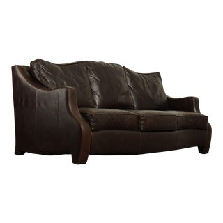 Thomasville Brown Leather Serpentine Sofa For Sale