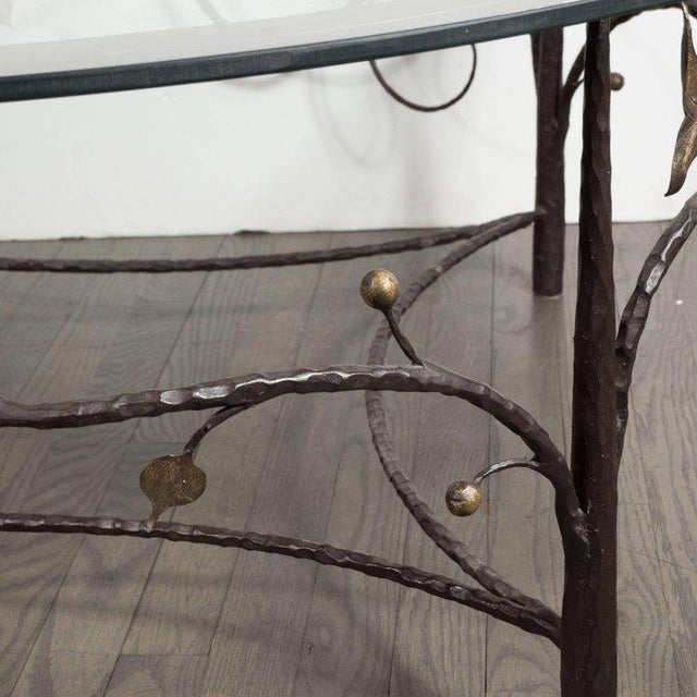 Brown Midcentury Scrolling Bronze Coffee Table with Flora and Fauna Motifs For Sale - Image 8 of 10