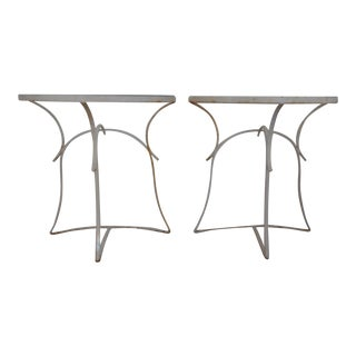 Hollywood Regency Wrought Iron Demilune Console Tables - a Pair For Sale