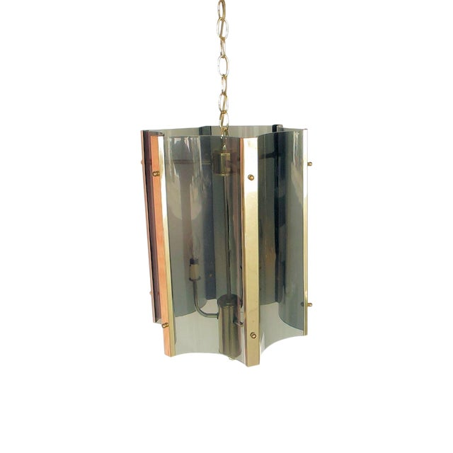 1960s Lucite And Brass Pendant - Image 1 of 5