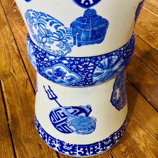 White 19th Century Antique Glazed Terracotta Japanese Blue & White Stand For Sale - Image 8 of 11
