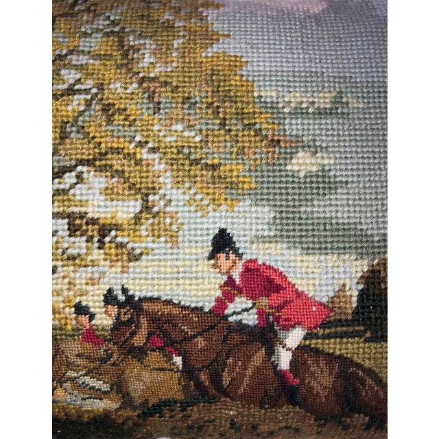 Americana The Hunt ~ Needlepoint Accent Pillow For Sale - Image 3 of 5