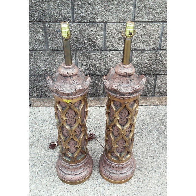 1960s Gothic Revival Tall Plaster Table Lamps-A Pair For Sale - Image 5 of 7