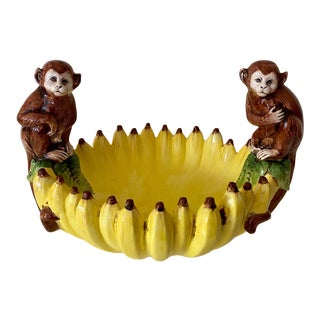 Vintage Hand Painted Italian Monkey Bowl Made for Gumps For Sale