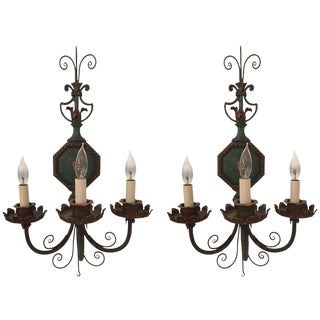 Vintage Neoclassical Green Tole Sconces - a Pair For Sale