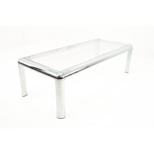 Mid Century Chrome and Glass Coffee Table For Sale - Image 9 of 9