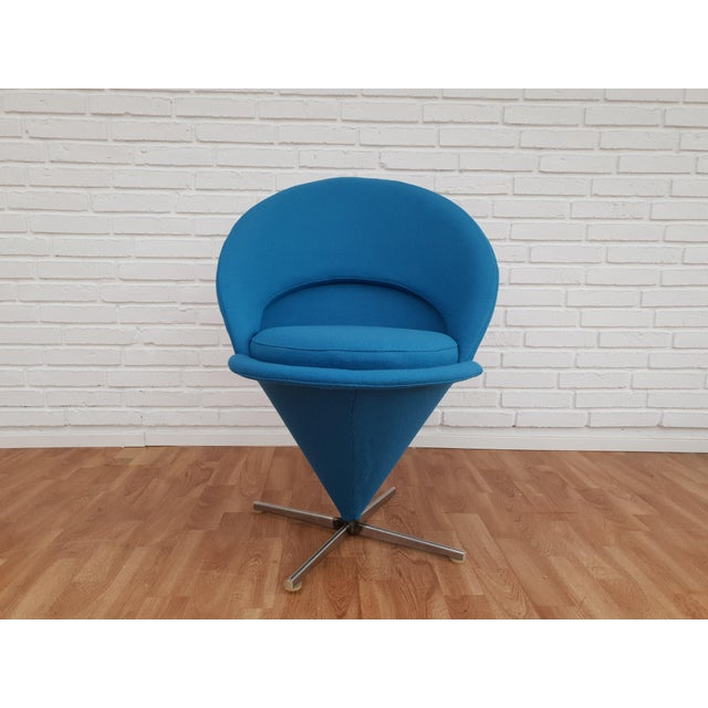 """Verner Panton, """"Cone chair."""" Completely renovated in quality wool fabric: blue color. Brand new padding on the back and..."""