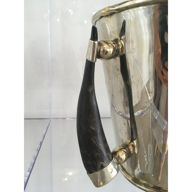 Gucci Silver Plate Wine Cooler Ice Bucket With Horn Handles For Sale - Image 4 of 13