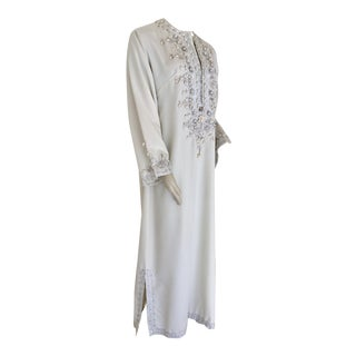 1970s Moroccan Vintage Caftan White Kaftan Maxi Dress For Sale