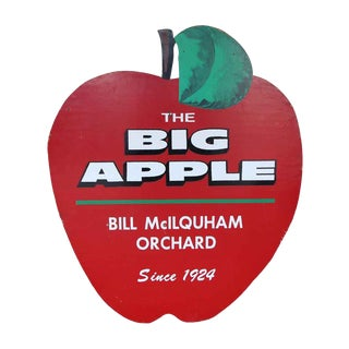 Vintage Big Apple Plywood Sign For Sale