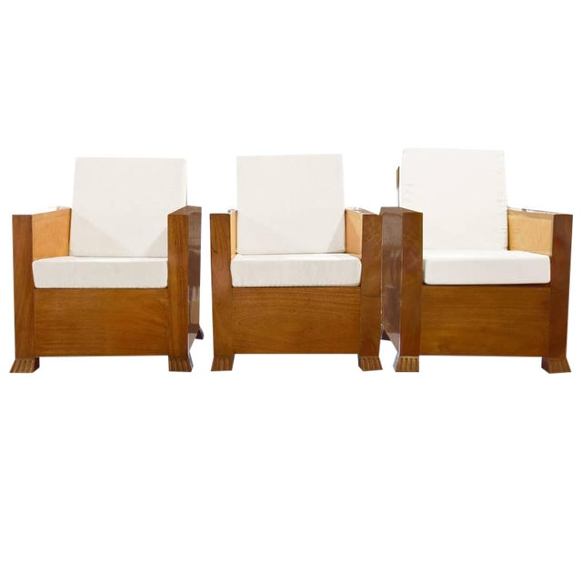 Set of Three Burl Wood Club Chairs - Image 1 of 7