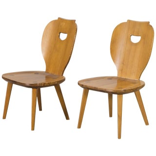 1950s Vintage Carl Malmsten Pine Chairs- a Pair For Sale