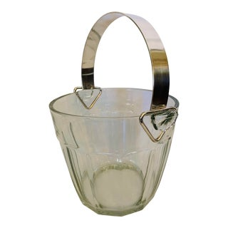 Vintage Water Pail-Shaped Ice Bucket With Silverplate Handle For Sale