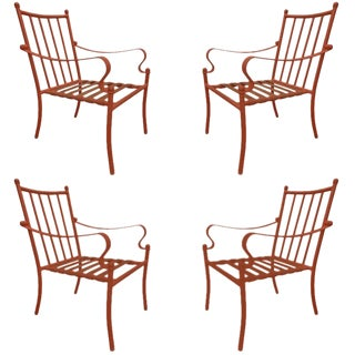 Set of Four Mid-20th Century American Iron Patio Chairs For Sale