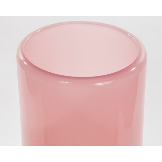 Monumental pink opalina vase designed and realized by Archimede Seguso circa 1950. signed