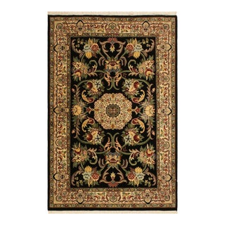 Anarkali Pak-Persian Virgil Black/Ivory Wool Rug - 4'2 X 6'2 For Sale