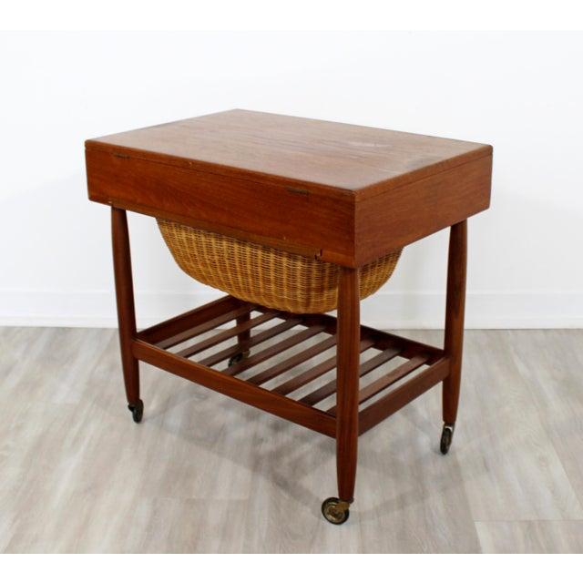 a5f40b0fd Teak 1950s Vintage Ejvind Johansson Danish Mid Century Modern Teak Sewing  Cabinet Side End Table For