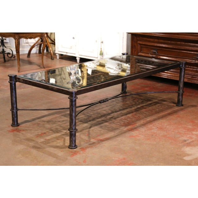 Iron Coffee Table Made With 19th Century French Gate Balcony With Glass Top For Sale - Image 9 of 13