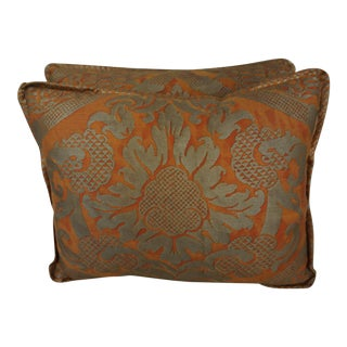 Bittersweet & Silvery Gold Fortuny Accent Pillows, Pair For Sale