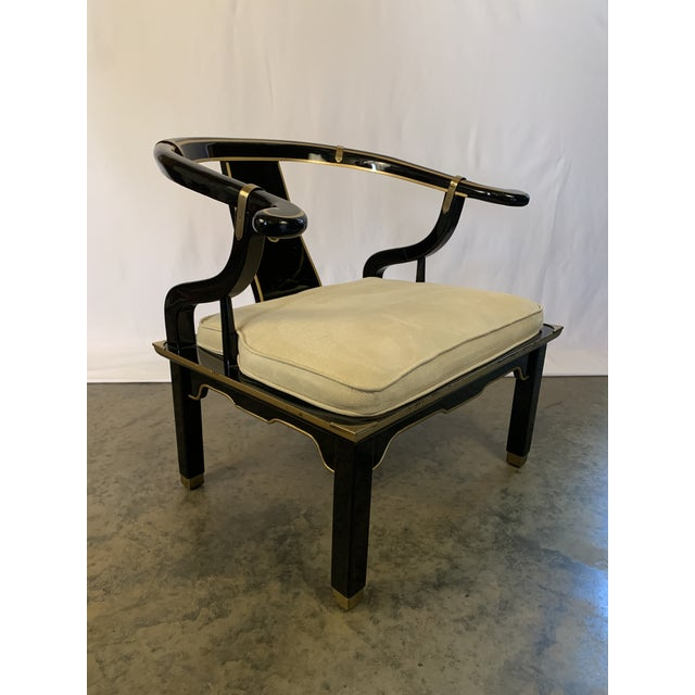 Beautiful Hollywood Regency James Mont Style Suede and Black Lacquer Horseshoe Lounge Chair by Century Furniture. Armchair...