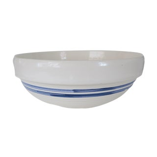 Vintage Large Blue and White Striped Stoneware Pottery Crock Bowl For Sale