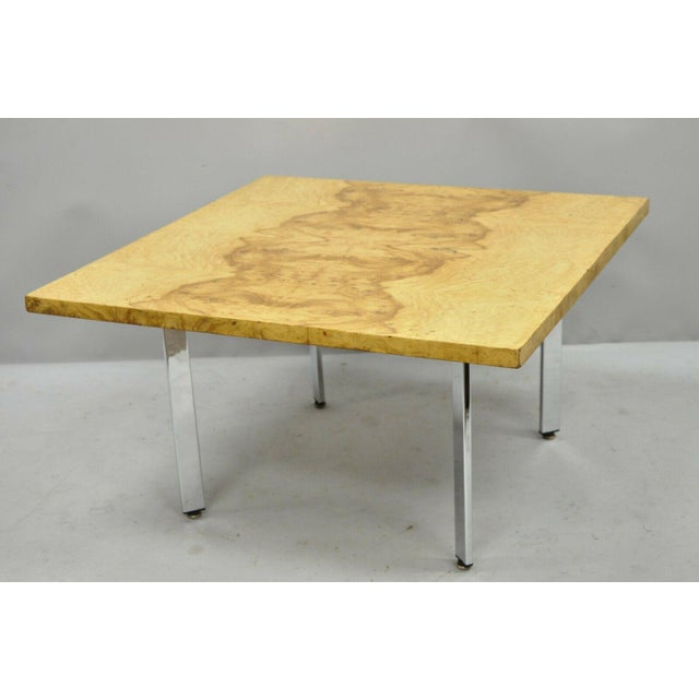 Milo Baughman Mid Century Modern Burl & Chrome Burlwood Square Coffee Table For Sale In Philadelphia - Image 6 of 10