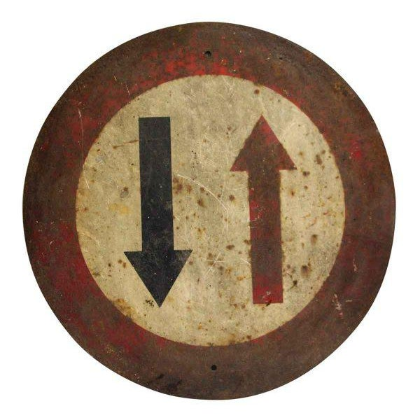 Late 19th Century French Two Way Traffic Sign For Sale - Image 5 of 5