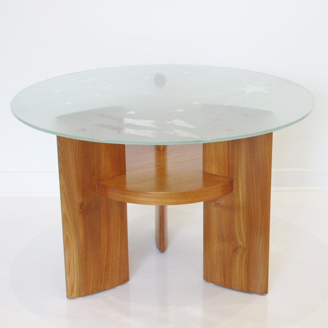 A functional and handsome French Art Deco two-tiered round blond walnut gueridon or coffee table. Extra thick round slab...