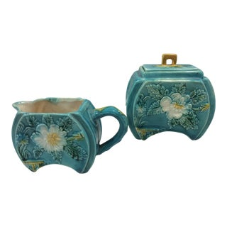Antique Art Deco Turquoise Majolica Sugar and Creamer - a Pair For Sale