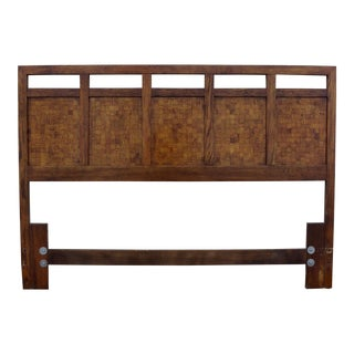 Mid-Century Walnut Patchwork Headboard For Sale