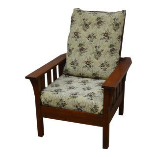 1900s Antique Quartersawn Oak Mission Morris Chair For Sale