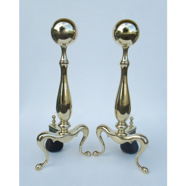 C1970s Vintage American Regency Brass Claw-Footed Andirons - a Pair For Sale - Image 13 of 13