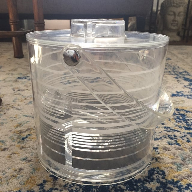 Mid-Century Modern Retro Lucite Ice Bucket With Tongs - Image 11 of 11