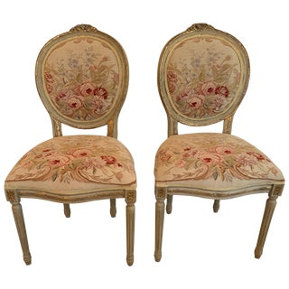 Very Pretty Pair of Louis XVI Style Oval Back Fauteuils Side Chairs For Sale