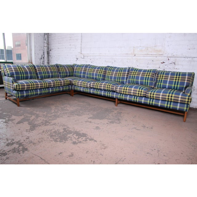 A. Rudin A. Rudin Down Filled Two-Piece Sectional Sofa in Plaid Upholstery For Sale - Image 4 of 13