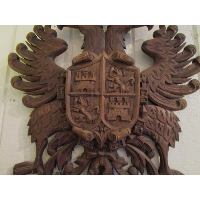 Mediterranean Carved Wood Coat of Arms For Sale - Image 3 of 6