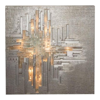Monumental Poliarte Aluminum and Handblown Murano Glass Wall Sculpture For Sale