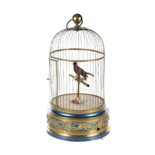 German Mechanical Birdcage Automaton Music Box For Sale