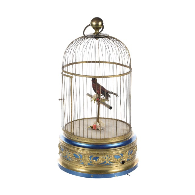 German Mechanical Birdcage Automaton Music Box For Sale