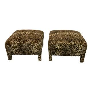 Parsons Style Cheetah Ottomans - a Pair For Sale