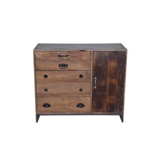Rustic Colborne Five Drawer Wooden Sideboard, Living Room, Dining Room, Buffet Table, One Door Cabinet, Rustic Look- Natural For Sale