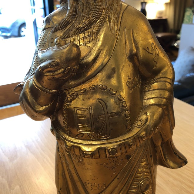 Brass Chinese God of Wealth Sculpture For Sale In San Francisco - Image 6 of 9