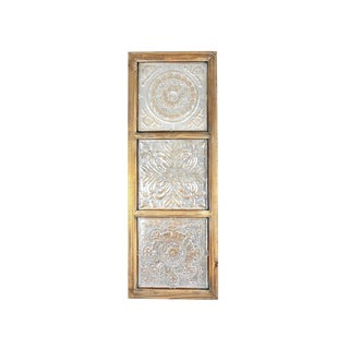Vintage Punched Tin Ceiling Tile Wall Art For Sale