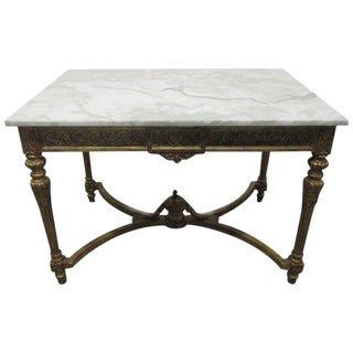 19th Century Italian Neoclassical Gilt Carved Marble-Top Table For Sale