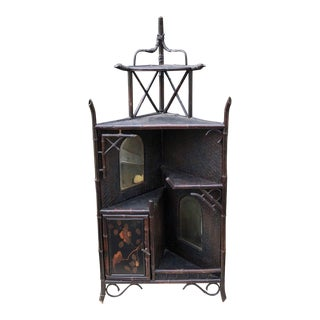 Antique Black Regency Style Bamboo Whatnot Corner Cabinet Table